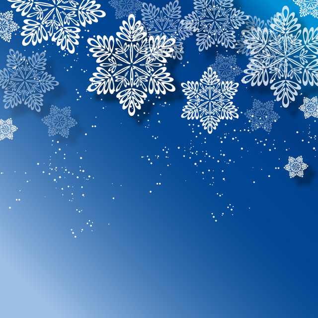 Free Blue Christmas Background with White Snowflakes