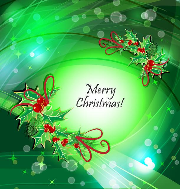 Free Mistletoe Frame Green Curves Christmas Background