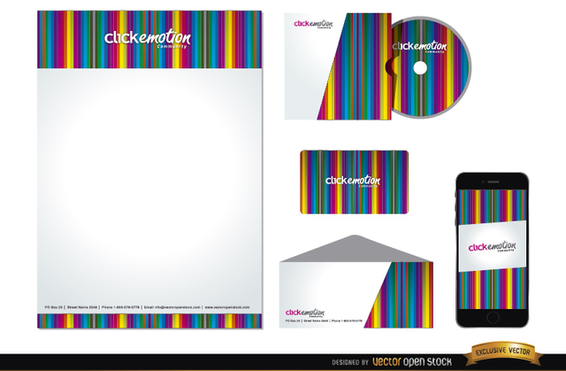 Free Colorful bars business identity pack