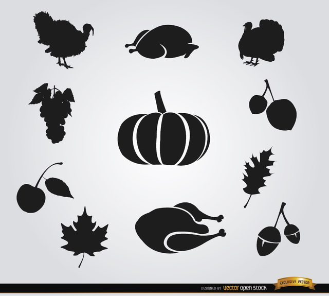 Free Vectors: 10 Thanksgiving food silhouettes | Vector Open Stock