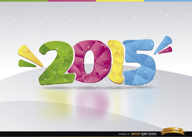 Free 2015 colored number glitters Background