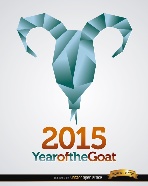 Free 2015 origami goat head background