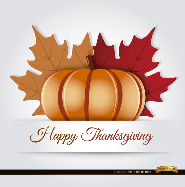 Free Thanksgiving pumpkin autumn leaves background