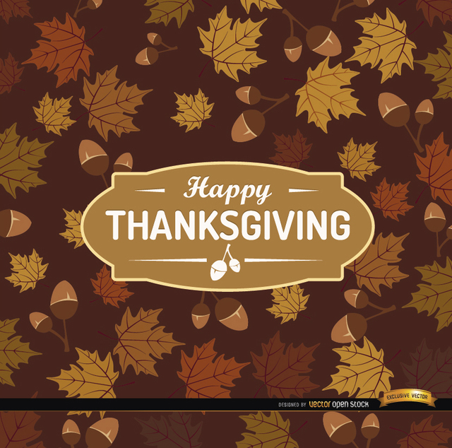 Free Happy Thanksgiving acorn leaves background
