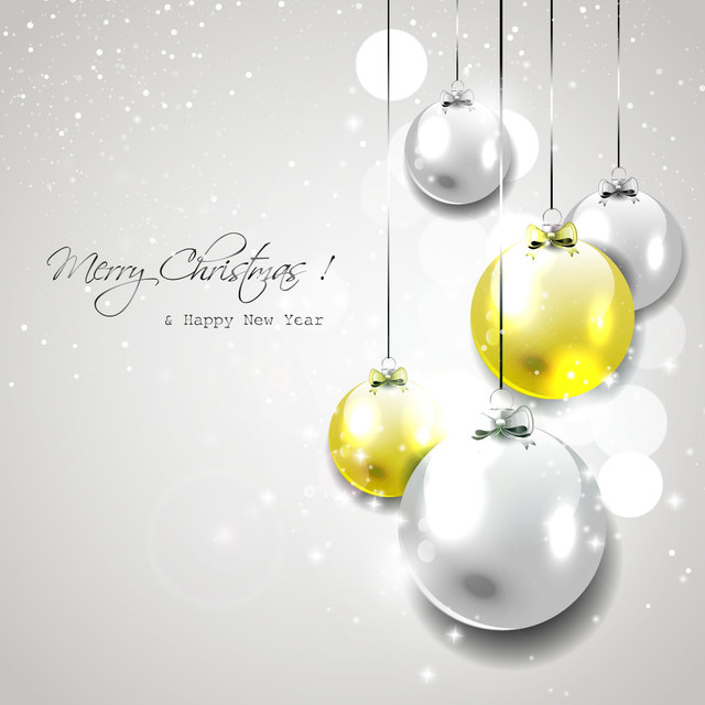 Free Christmas Glossy Balls Hanging on Grey Background