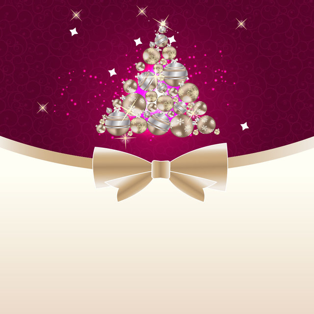 Free Ornamental Christmas Tree on Floral Swirls Background
