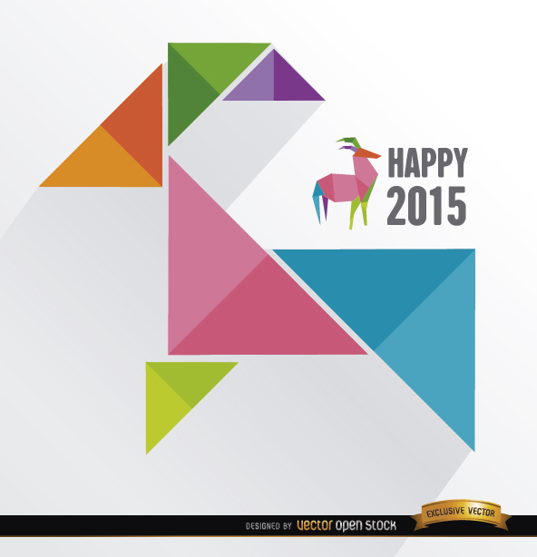 Free Vectors: 2015 colored triangles goat background | Vector Open Stock