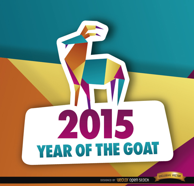 Free 2015 colorful polygon year goat background