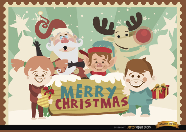 Free Vectors: Merry Christmas cartoon characters background | Vector Open Stock