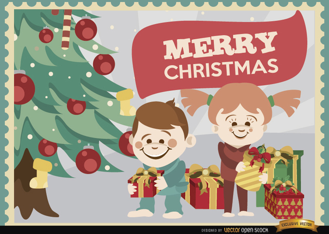 Free Kids opening Christmas gifts background