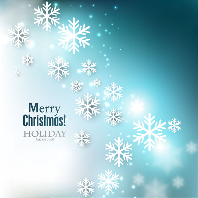 Free Blue Christmas Background with Shiny Snowflakes