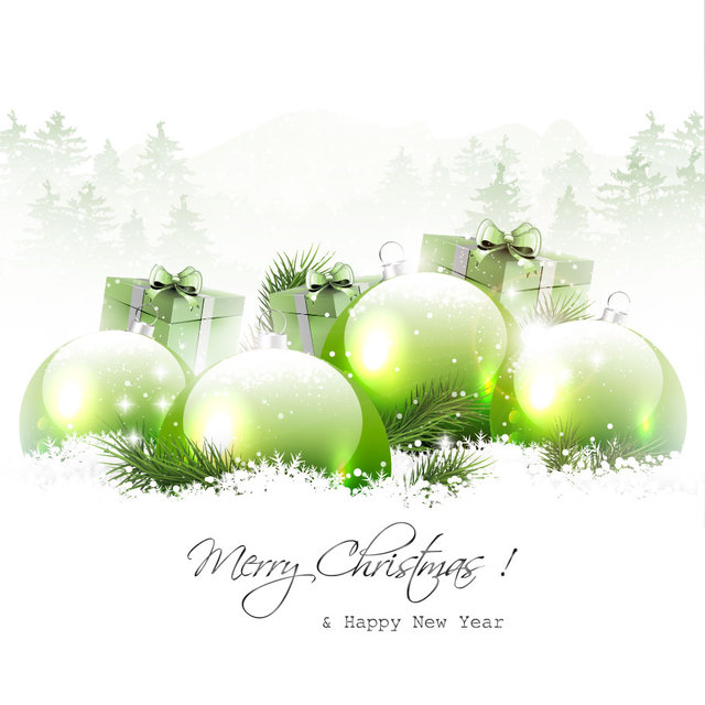 Free Snowy Christmas Background with Green Baubles