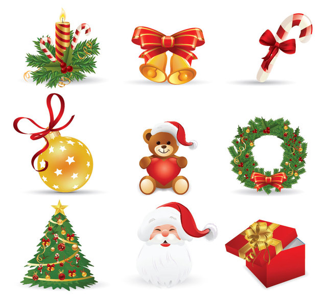 Free 3D Funky Style Christmas Icon Set