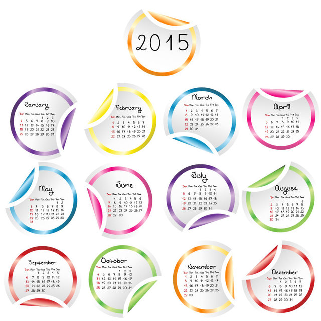 Free Flipped Edge Multicolor Rounded Sticker Calendar 2015