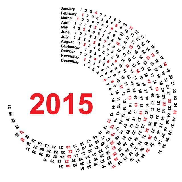 Spiral Round Black & Red 2015 Calendar