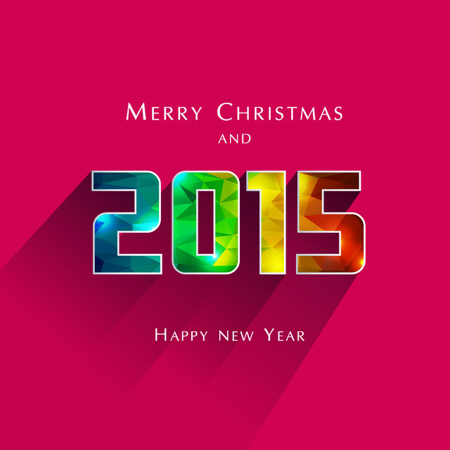 Free Polygonal Typography Christmas & New Year Greeting