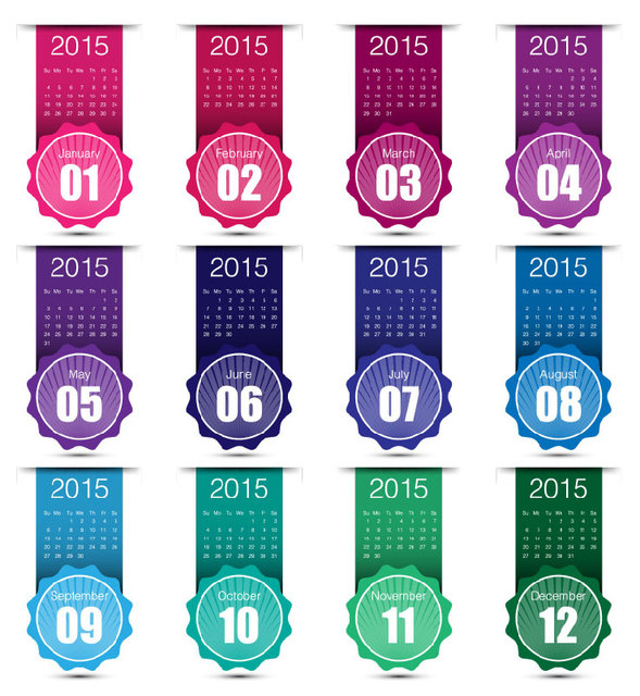 Colorful Labeled-Up Month Creative 2015 Calendar