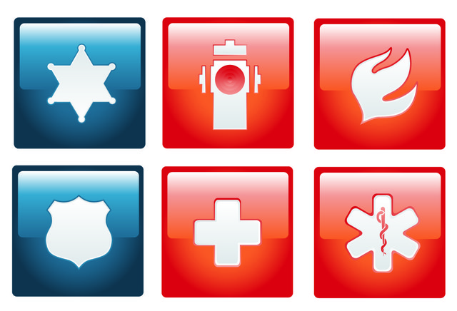 Free Flat Emergency Sign Pack on Red Squares