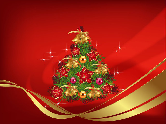 Free Decorative Christmas Tree on Red Abstract Background