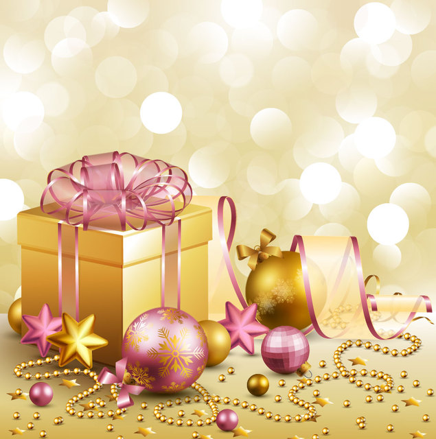 Free Vectors: 3D Gift Box & Christmas Ornaments Golden Background | CGvector