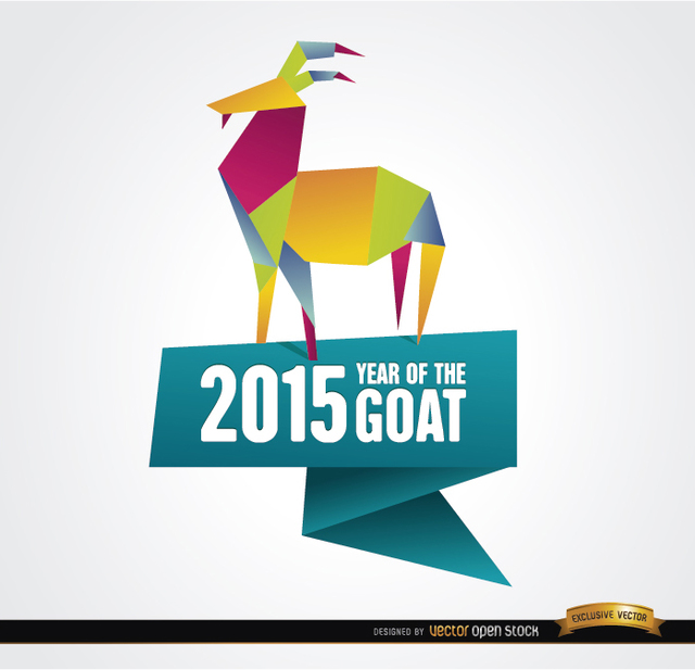Free 2015 colorful origami year goat background