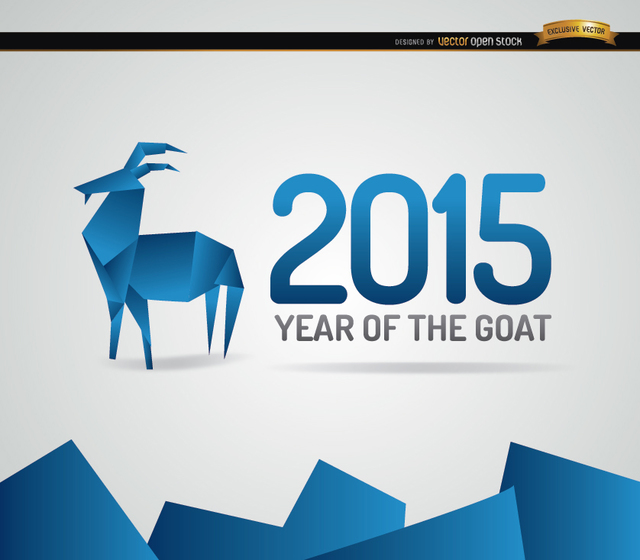 Free 2015 blue origami goat year background
