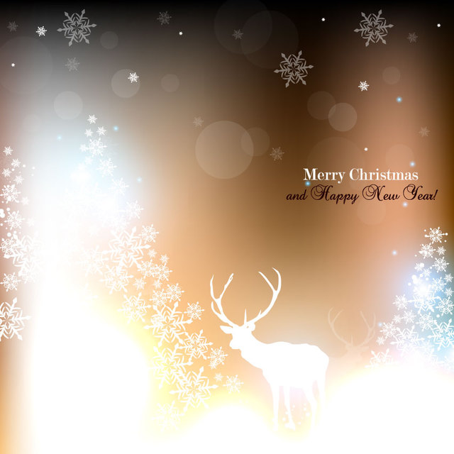 Free Shiny Christmas Background with Snowflake & Reindeer
