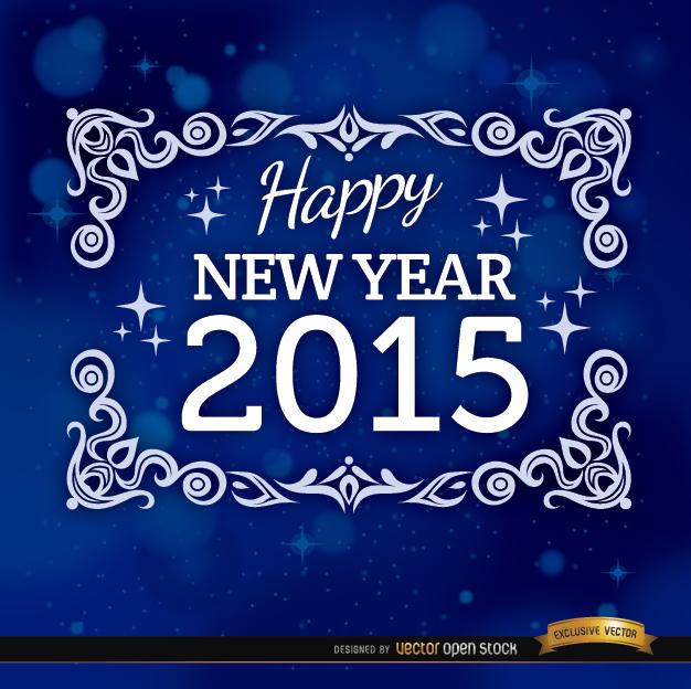 Free 2015 blue floral frame background