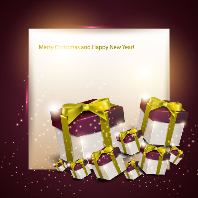 Free Christmas Greeting Card with 3D Gift Boxes