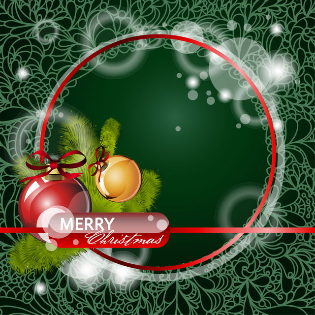 Free Floral Christmas Background with Red Circular Frame