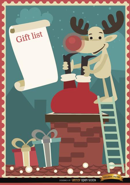 Free Santa Reindeer chimney gift list