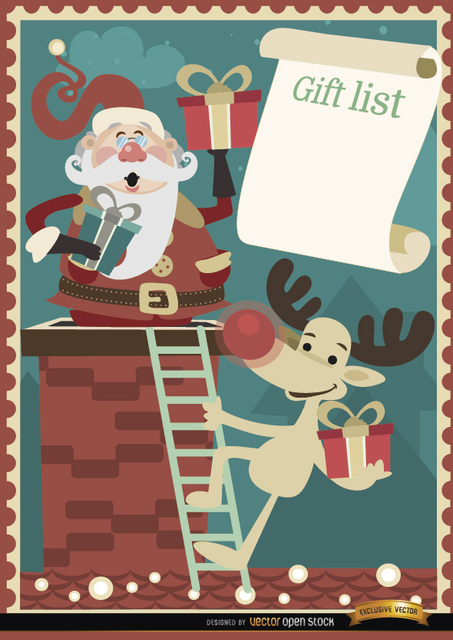 Free Santa Reindeer gift list background