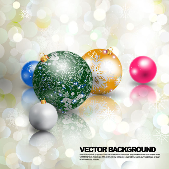 Free Multicolor 3D Christmas Ball on Bokeh Lights