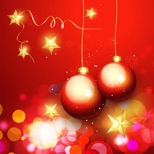 Free Luxurious Ornaments & Bokeh Light Christmas Background