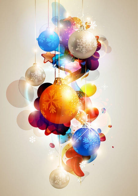 Free Vectors: Glowing Colorful Christmas Ball Background   CGvector
