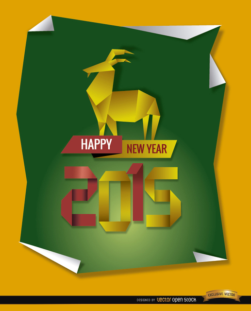 Free 2015 Origami goat background