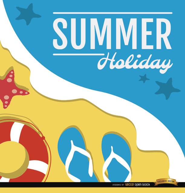 Free Vectors: Summer holidays beach background | Vector Open Stock