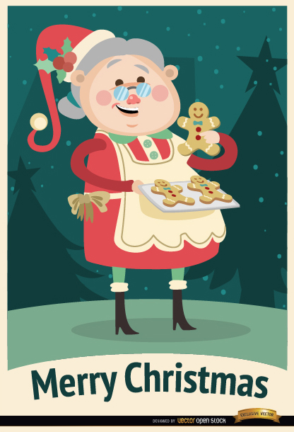 Free Grandmother cookies Christmas background