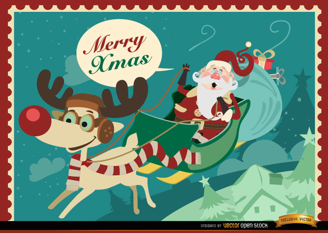 Free Santa Reindeer sledge Xmas background
