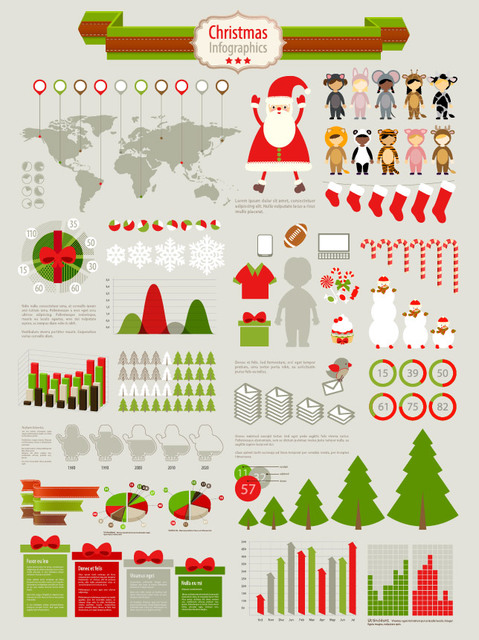 Free Funky Christmas Infographic Set
