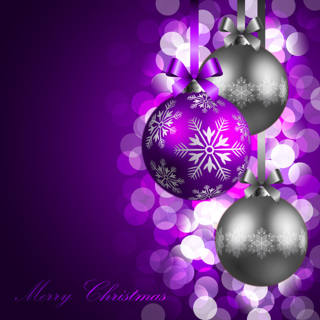 Free Glowing Bokeh Christmas Balls Purple Background