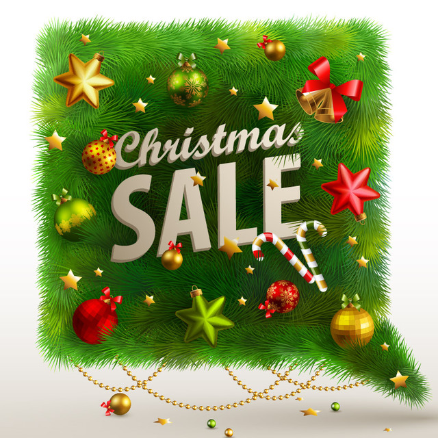 Free Christmas Sale Banner on Green Branch