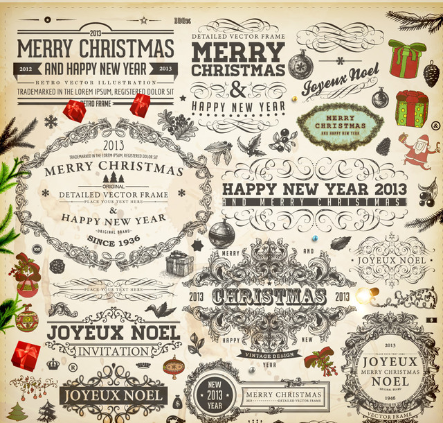 Free Vectors: Vintage Decorative Calligraphic Christmas Ornament Set | CGvector