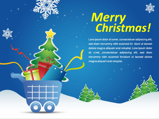 Free Snowy Christmas Shopping Cart Marketing Promo