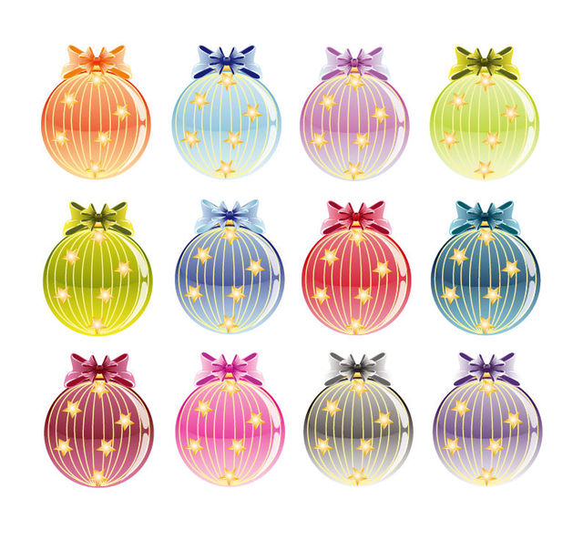 Free Colorful Set of Decorative Christmas Baubles