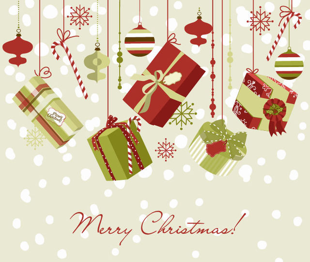 Free Christmas Ornaments & Gift Box Background