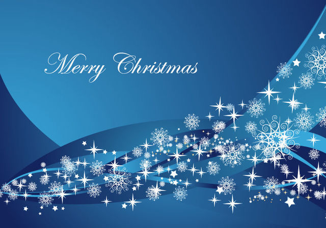 Free Abstract Blue Waves Christmas Background