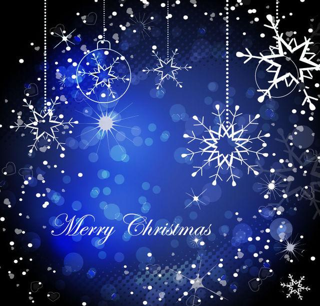 Free Shiny Decorative Blue Christmas Background