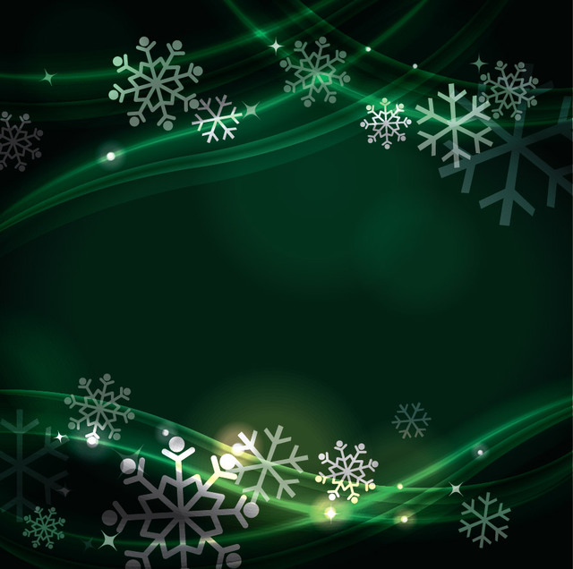 Free Green Fluorescent Curves with Snowflakes Background