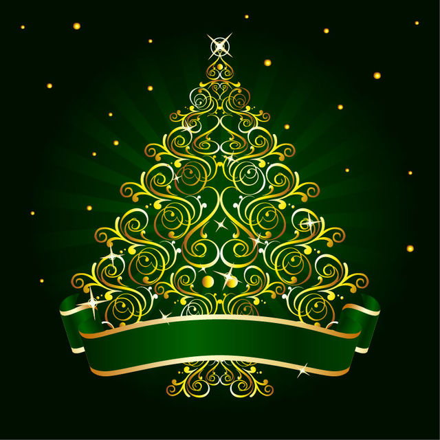 Free Golden Floral Christmas Tree